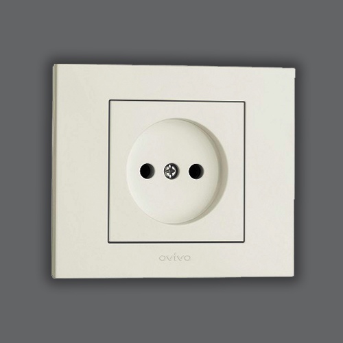 SOCKET OUTLET WITHOUT EARTH - WHITE
