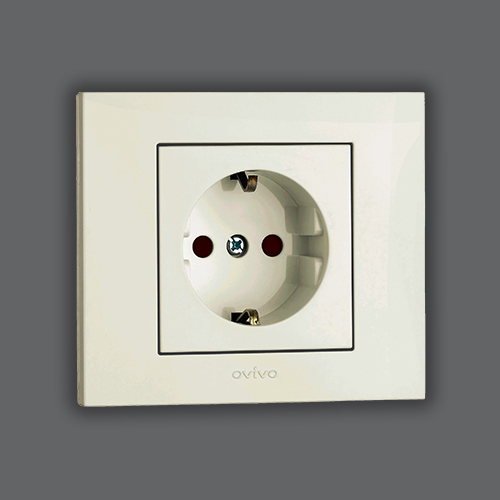 SOCKET OUTLET EARTHED CHILDPROOF - WHITE