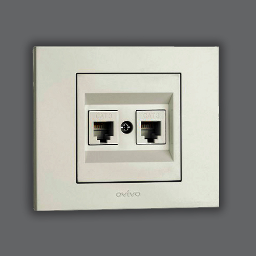 DOUBLE NUMERIS TELEPHONE SOCKET OUTLET - WHITE