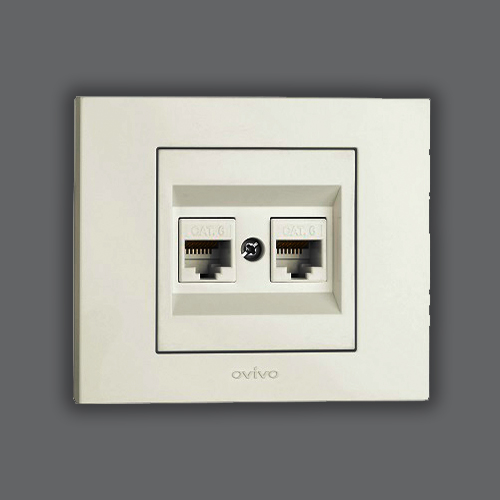 DOUBLE DATA SOCKET OUTLET - WHITE