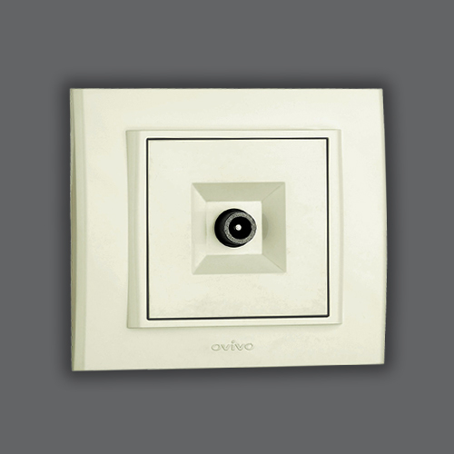 TV SOCKET OUTLET - THROUGH LINE WHITE