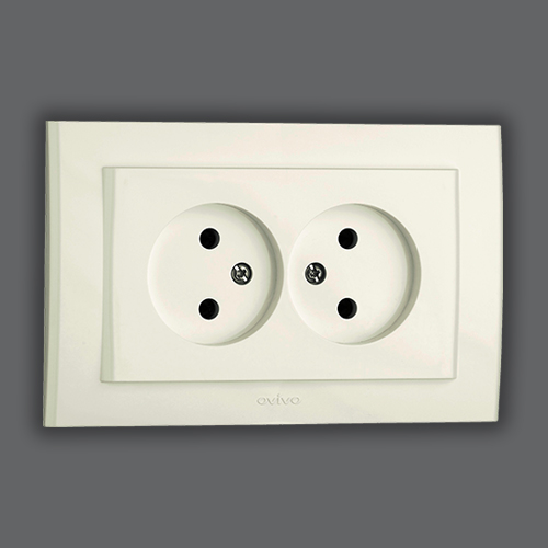 DOUBLE SOCKET OUTLET WITHOUT EARTH - WHITE