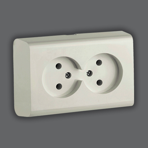 DOUBLE SOCKET WITHOUT EARTH - WHITE
