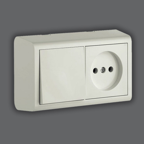 SWITCH + SOCKET WITHOUT EARTH - WHITE