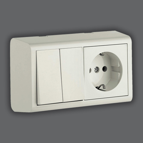 DOUBLE ONE WAY SWITCH + SOCKET WITH EARTH - WHITE